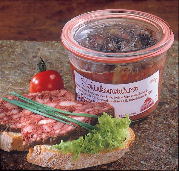 Frische Hausmacher Schinkenrotwurst im Weckglas | 200g