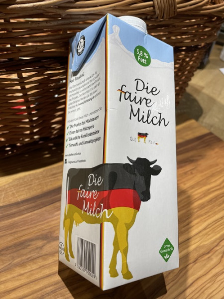 Die faire Milch, 3,8% Fett, genfrei
