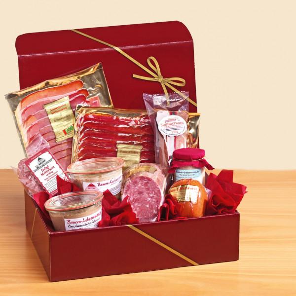 Geschenkbox Präsent mit Wurst und Schinken