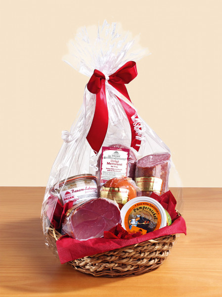 Brotzeitkorb Nr.1 mit Wurst und Schinken Geschenkkorb mit Schleife