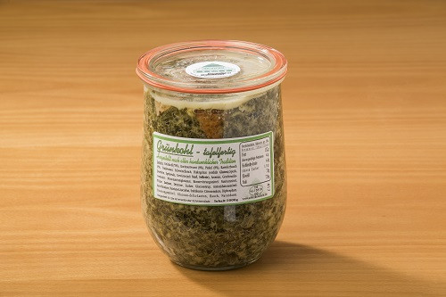 Grünkohl, tafelfertig mit Kasselerbauch, Kochwurst & Pinkel | 1000g im Glas